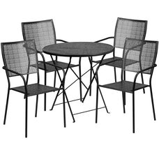 """Commercial Grade 30"""" Round Black Indoor-Outdoor Steel Folding Patio Table Set with 4 Square Back Chairs"""