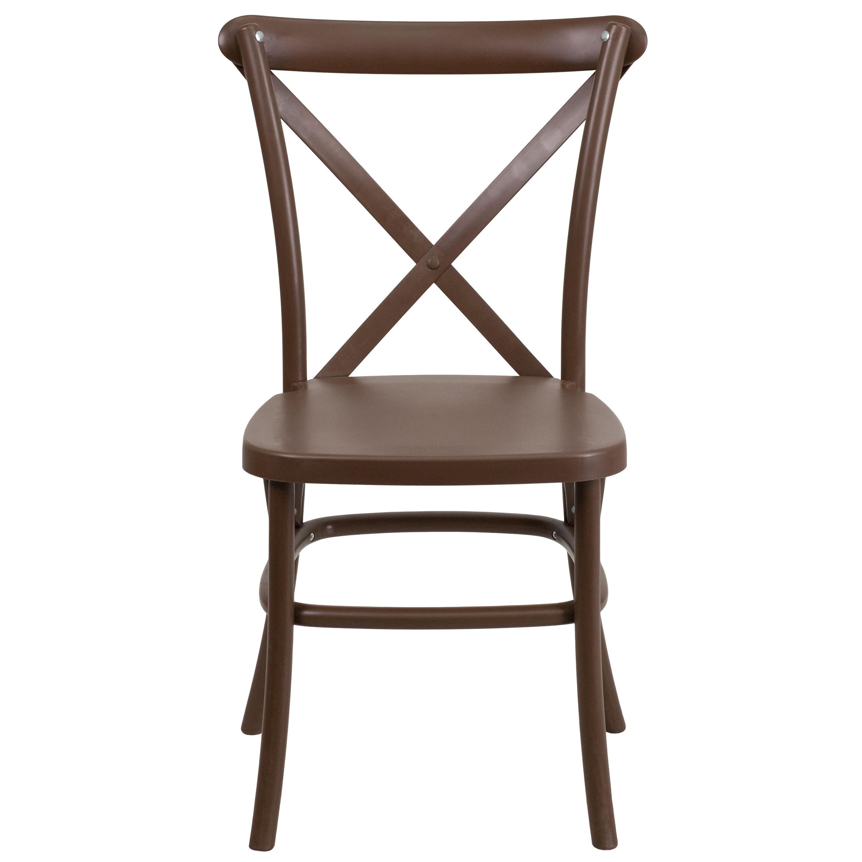 ... Our HERCULES Series Chocolate Resin Indoor Outdoor Cross Back Chair  With Steel Inner Leg Is