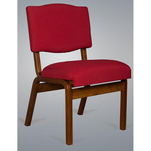 Stained Red Oak Upholstered Worship Chair with Extra Wide Seat