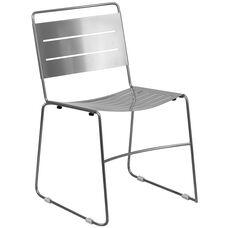 HERCULES Series Silver Indoor-Outdoor Metal Stack Chair
