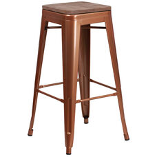 "30"" High Backless Copper Barstool with Square Wood Seat"