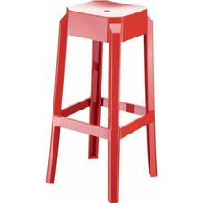 Fox Polycarbonate Stackable Backless Counter Stool - Glossy Red