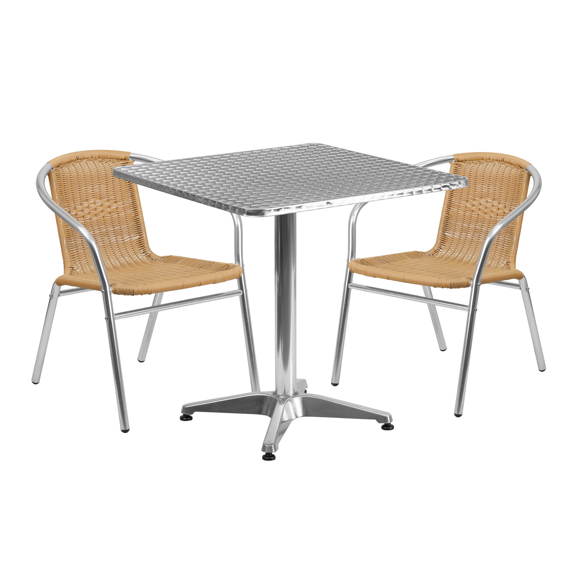 27.5\'\' Square Aluminum Indoor-Outdoor Table Set with 2 Beige Rattan Chairs