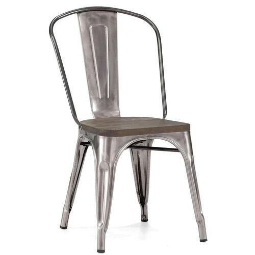 Our Dreux Clear Gunmetal Stacking Steel Side Chair with Elm Wood Seat - Set of 4 is on sale now.