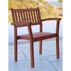 Malibu Outdoor Wood Garden Stackable Armchair - Set of 4