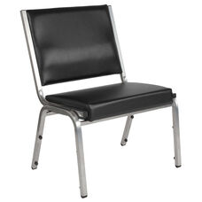 HERCULES Series 1500 lb. Rated Black Antimicrobial Vinyl Bariatric Chair with Silver Vein Frame