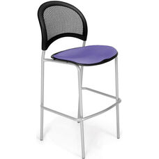Moon Cafe Height Chair with Fabric Seat and Silver Frame - Lavender