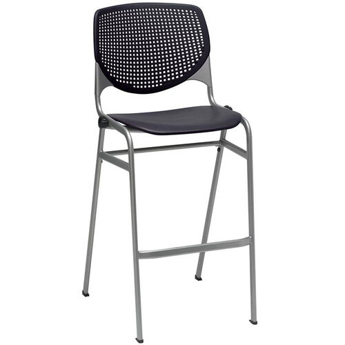 Our 2300 KOOL Series Stacking Poly Armless Barstool with Perforated Back and Silver Frame -Black is on sale now.
