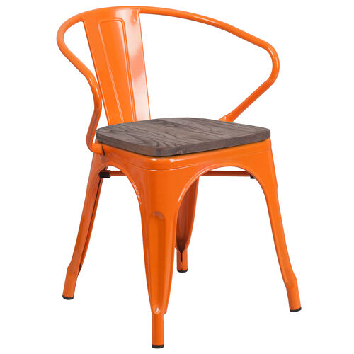 Our Orange Metal Chair with Wood Seat and Arms is on sale now.