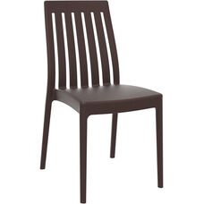Soho Modern Outdoor Resin Stackable High Back Dining Chair - Brown