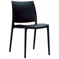 Maya Outdoor Polypropylene Stackable Dining Chair - Black
