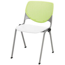 2300 KOOL Series Stacking Poly Armless Chair with Lime Green Perforated Back and White Seat