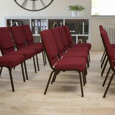 HERCULES Series 18.5''W Stacking Church Chair in Burgundy Fabric - Gold Vein Frame