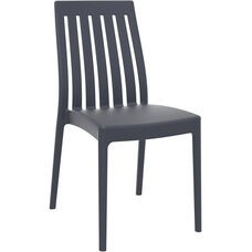 Soho Modern Outdoor Resin Stackable High Back Dining Chair - Dark Gray