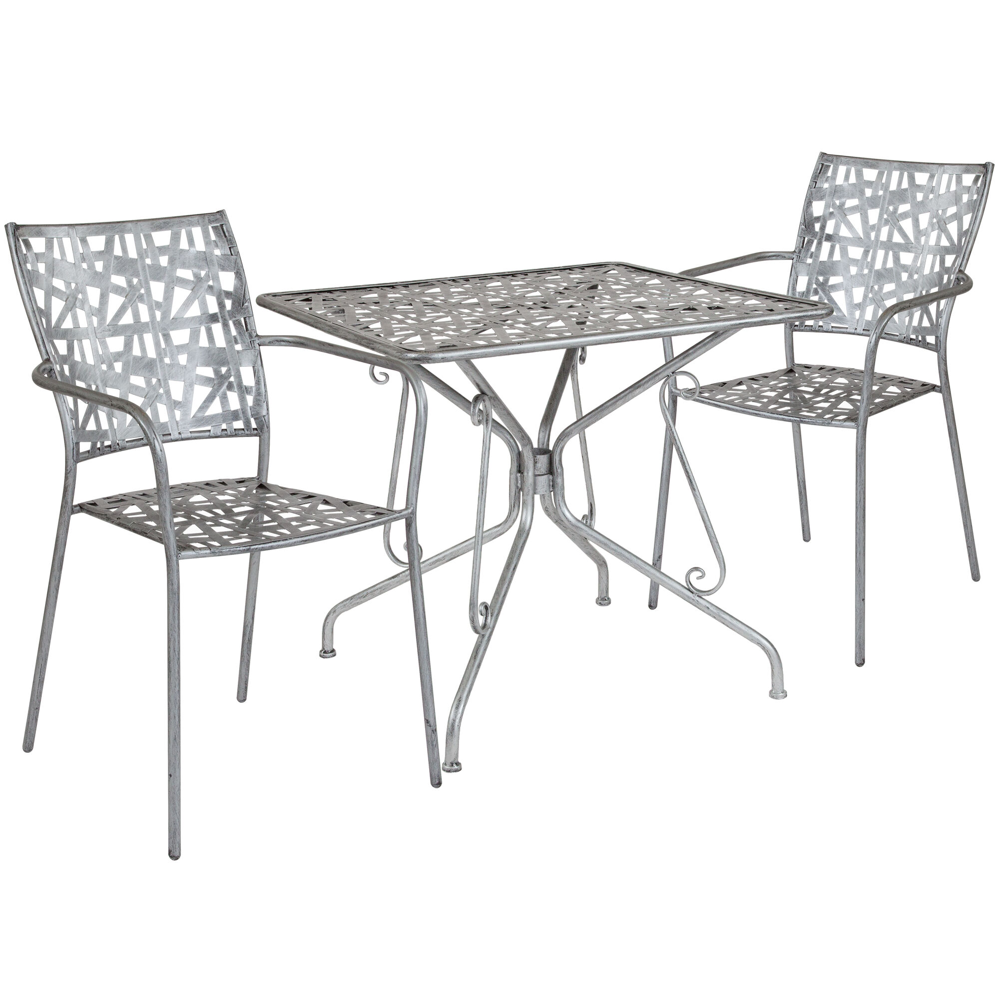 Silver Patio Furniture.Agostina Series 31 5 Square Antique Silver Indoor Outdoor Steel Patio Table With 2 Stack Chairs