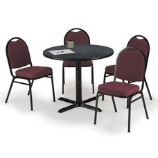 42'' Round Graphite Nebula Laminate Table Set with X-Base and Burgundy Fabric Upholstered Stack Chairs - Seats 4