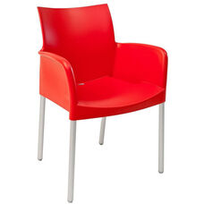 Pedrali Stackable Poly Shell Outdoor Arm Chair in Rojo