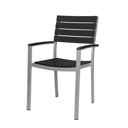 Our Vienna Outdoor Arm Chair with Black Durawood Slat Back and Seat - Silver Finish is on sale now.