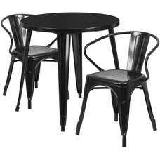 """Commercial Grade 30"""" Round Black Metal Indoor-Outdoor Table Set with 2 Arm Chairs"""