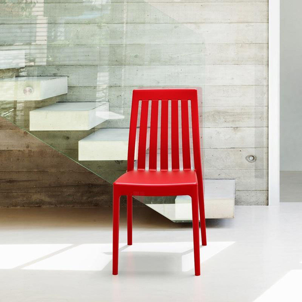 Our Soho Modern Outdoor Resin Stackable High Back Dining Chair Red Is On Now
