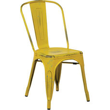 OSP Designs Bristow Stackable Armless Metal Chair - Set of 2 - Antique Yellow