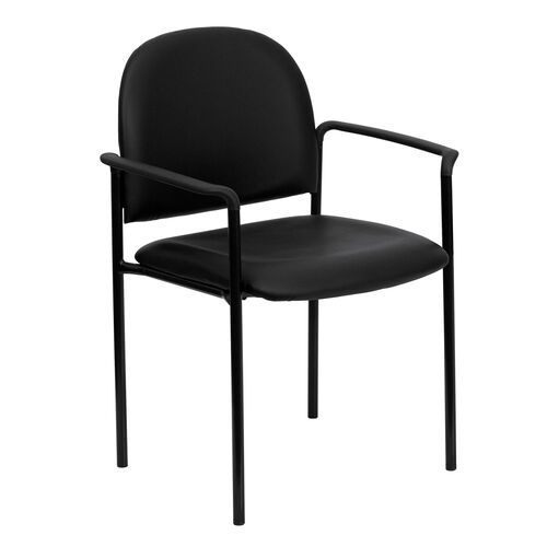 Our Comfort Black Vinyl Stackable Steel Side Reception Chair with Arms is on sale now.