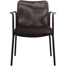 Essentials Mesh Upholstered Stacking Side Chair with Arms - Black