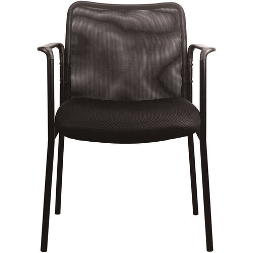 Our Essentials Mesh Upholstered Stacking Side Chair with Arms - Black is on sale now.