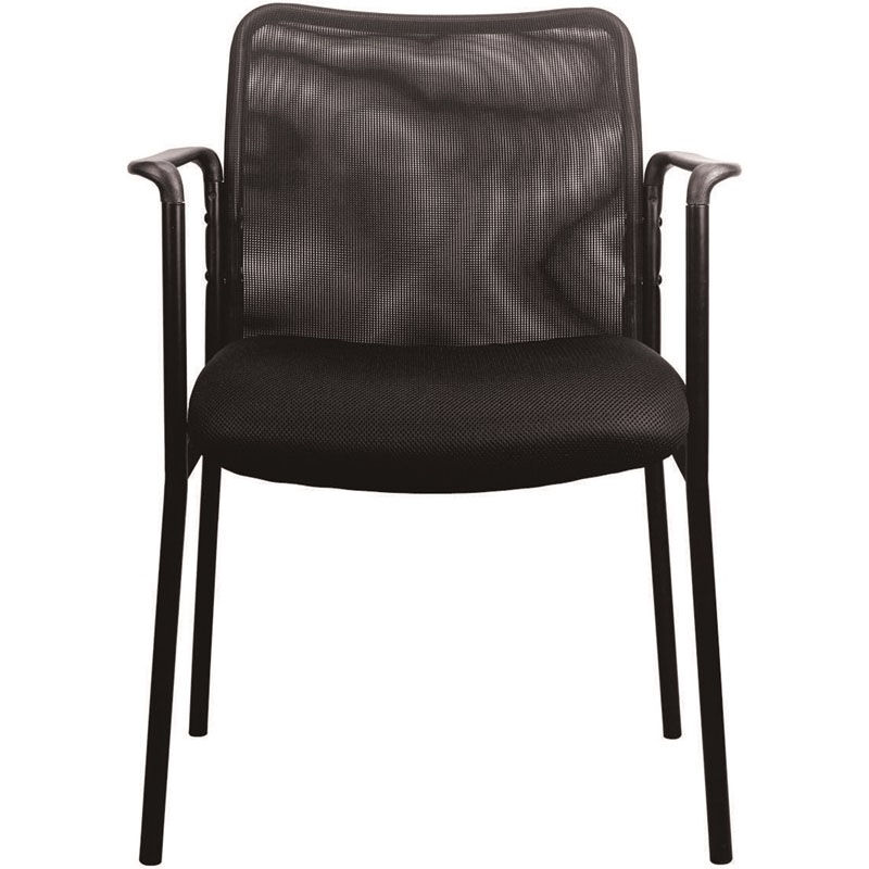 Essentials Mesh Upholstered Stacking Side Chair With Arms   Black