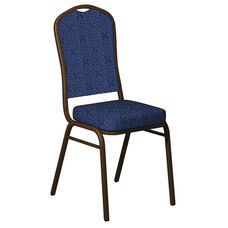 Embroidered Crown Back Banquet Chair in Faith Blue Fabric - Gold Vein Frame