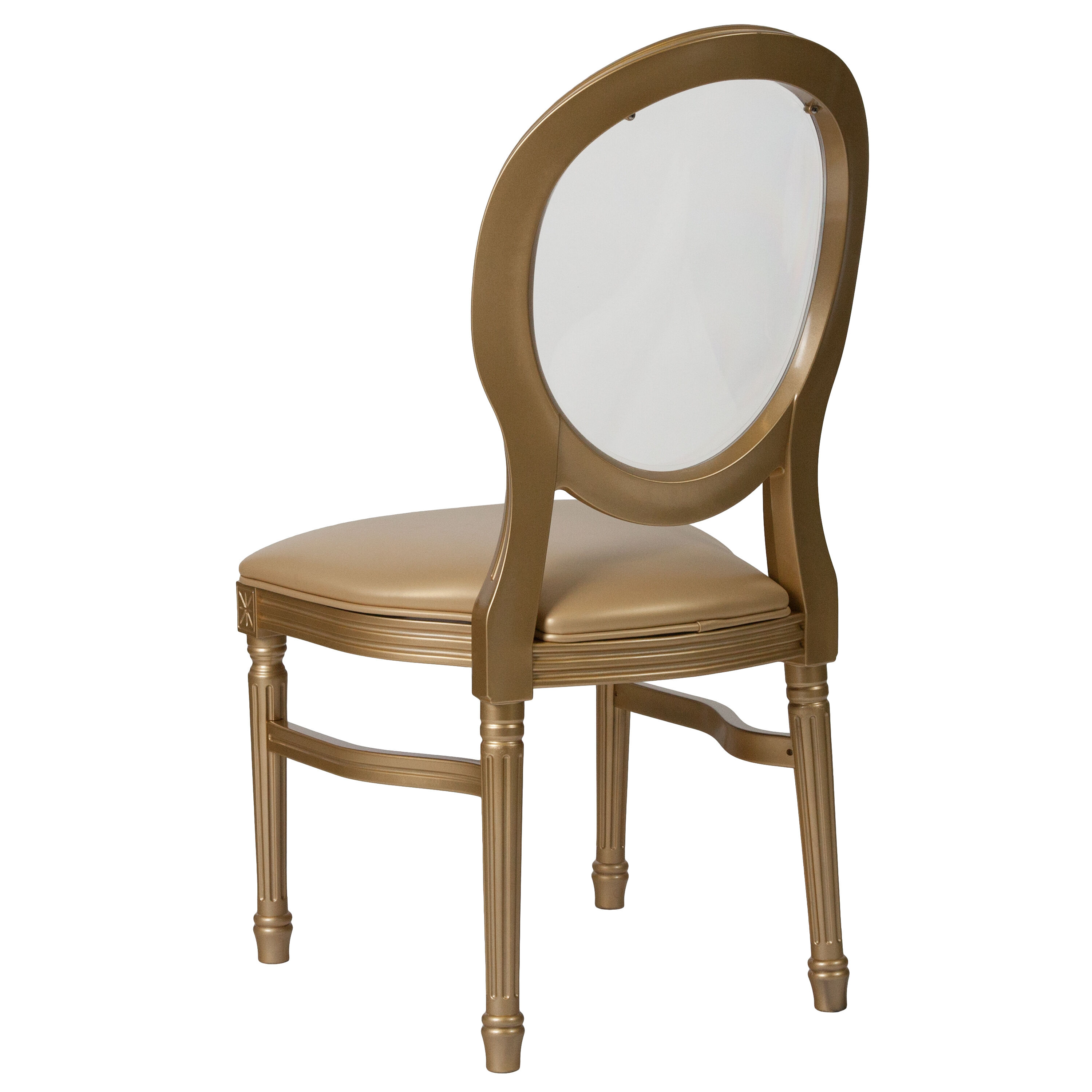 Etonnant Capacity King Louis Chair With Transparent Back, Gold Vinyl ...