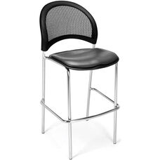 Moon Cafe Height Chair with Vinyl Seat and Chrome Frame - Charcoal