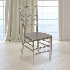 "HERCULES PREMIUM Series Pewter Resin Stacking Chiavari Chair with <span style=""color:#0000CD;"">Free </span> Cushion"
