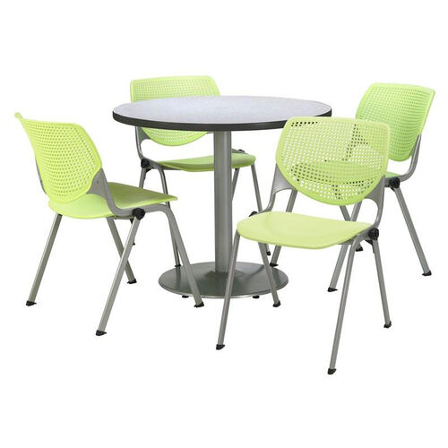Round Laminate Table Set with Lime Green Finish Poly Stack Chairs - Seats 4