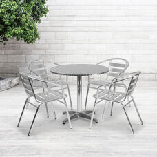 31.5'' Round Aluminum Indoor-Outdoor Table Set with 4 Slat Back Chairs