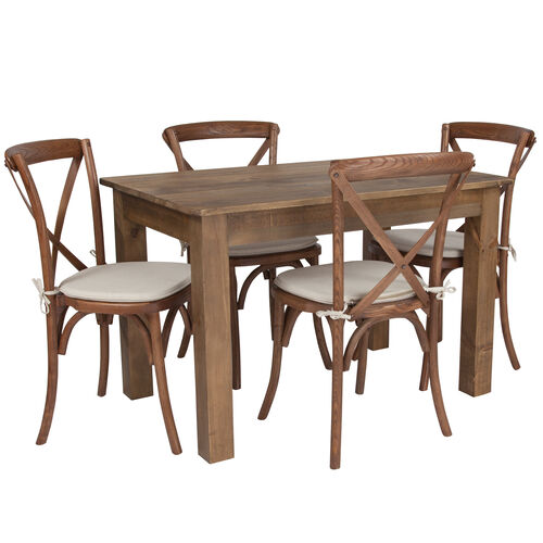 "Our 46"" x 30"" Antique Rustic Farm Table Set with 4 Cross Back Chairs and Cushions is on sale now."