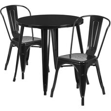 """Commercial Grade 30"""" Round Black Metal Indoor-Outdoor Table Set with 2 Cafe Chairs"""