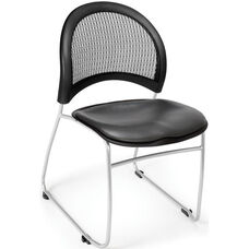 Moon Stack Chair with Vinyl Seat Cushion - Charcoal