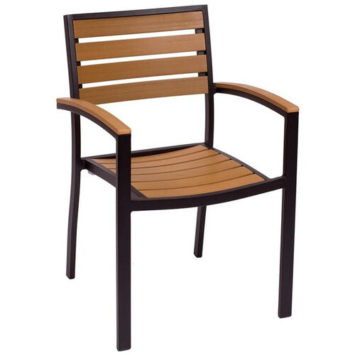 Our Largo Stackable Arm Chair - Synthetic Teak Seat & Back and Black Frame is on sale now.