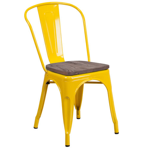 Our Yellow Metal Stackable Chair with Wood Seat is on sale now.