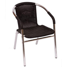 Madrid Chair Synthetic Wicker Wrapped Arm in Black