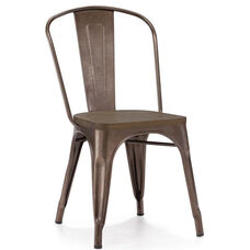 Dreux Stackable Rustic Matte Steel Side Chair with Elm Wood Seat Side Chair - Set of 4