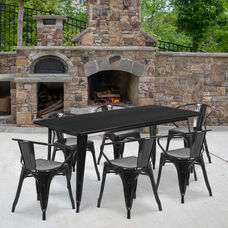 """Commercial Grade 31.5"""" x 63"""" Rectangular Black Metal Indoor-Outdoor Table Set with 6 Arm Chairs"""