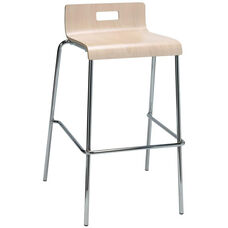 JIVE Series Stacking Bentwood Low Back Cafe Barstool with HPL Surface and Silver Steel Frame - Natural