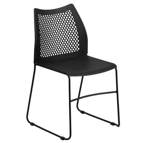 Our HERCULES Series 661 lb. Capacity Black Sled Base Stack Chair with Air-Vent Back is on sale now.