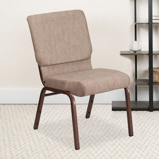 HERCULES Series 18.5''W Stacking Church Chair in Beige Fabric - Copper Vein Frame