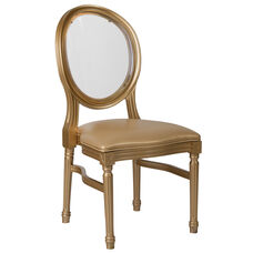 HERCULES Series 900 lb. Capacity King Louis Chair with Transparent Back, Gold Vinyl Seat and Gold Frame