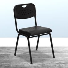 HERCULES Series 880 lb. Capacity Black Plastic Stack Chair with Open Back and Black Frame