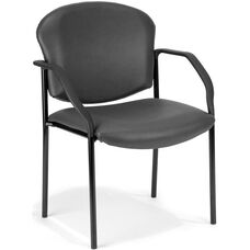 Manor Anti-Microbial and Anti-Bacteria Vinyl Guest and Reception Chair with Arms - Charcoal Vinyl