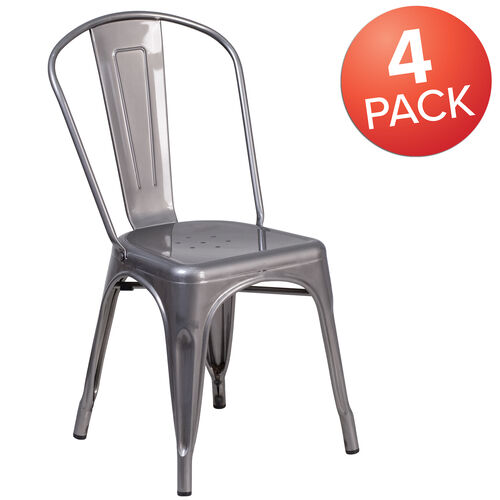Our 4 Pack Clear Coated Metal Indoor Stackable Chair is on sale now.